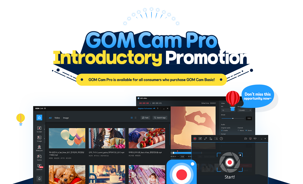 A long awaited GOM Cam Pro Launch! GOM Cam Pro is available for all consumers who purchase GOM Cam Basic! Don't miss this opportunity now~