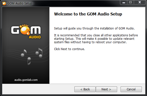 GOM Audio installation window 1