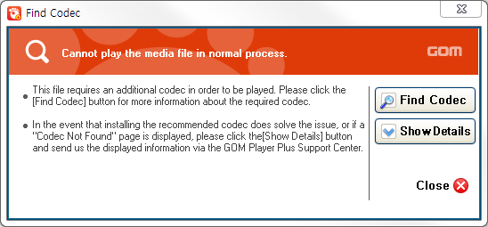 GOM Player plus - Codec Finder window