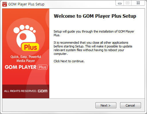 GOM Player plus installation window 1